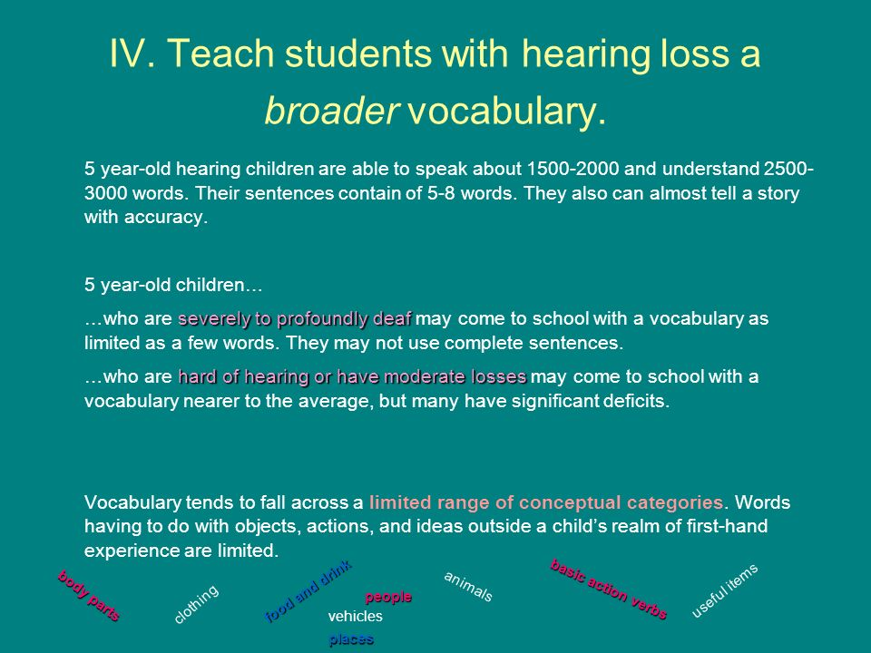 IV. Teach students with hearing loss a broader vocabulary.