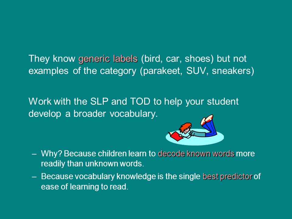 They know generic labels (bird, car, shoes) but not examples of the category (parakeet, SUV, sneakers)