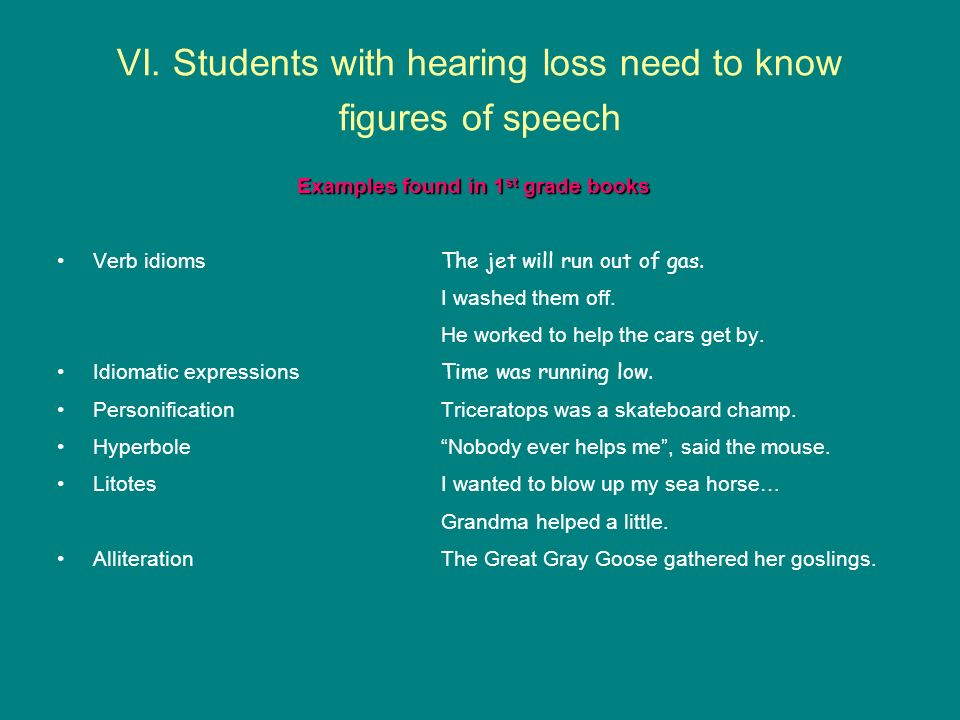 VI. Students with hearing loss need to know figures of speech