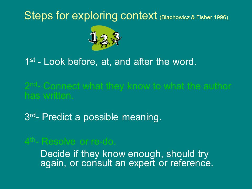 Steps for exploring context (Blachowicz & Fisher,1996)