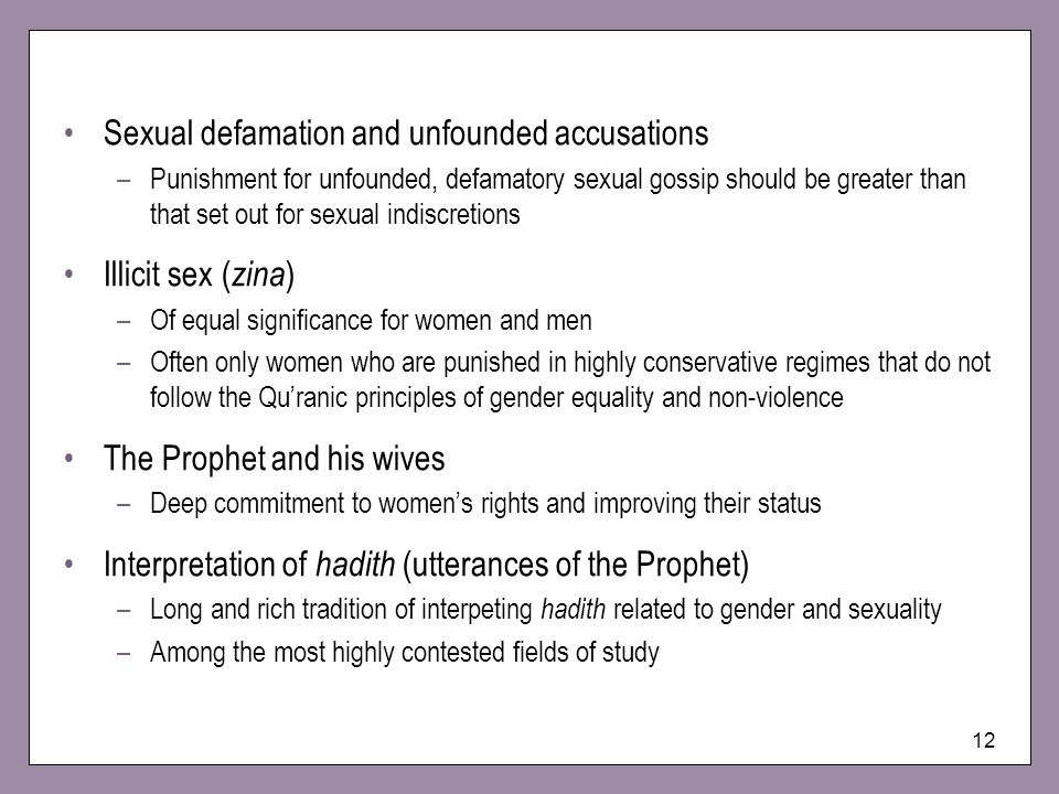 Sexual defamation and unfounded accusations