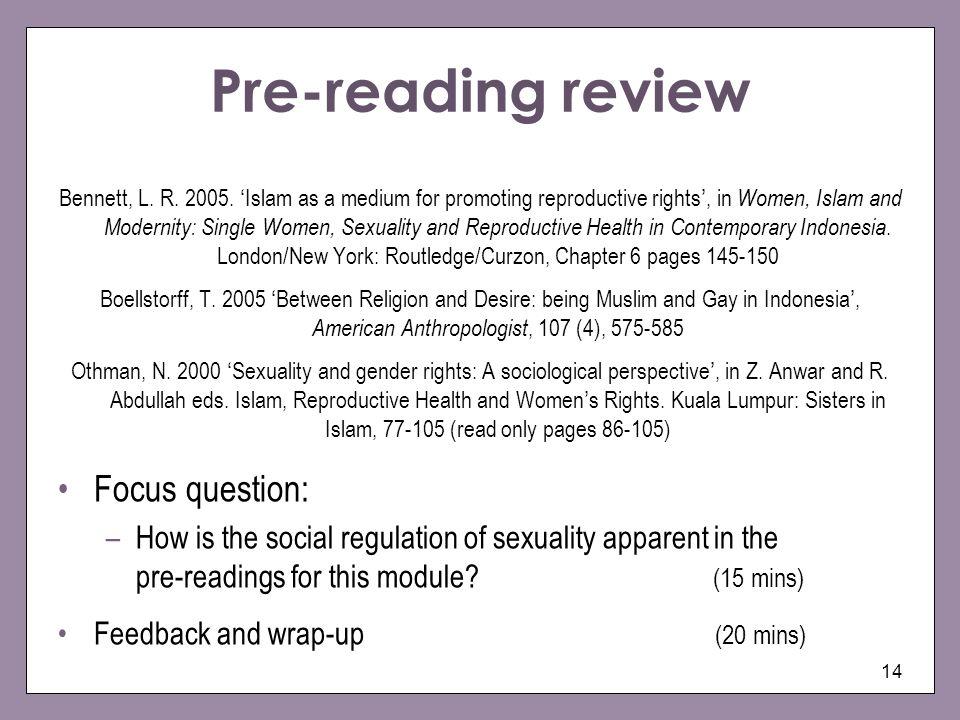 Pre-reading review Focus question: