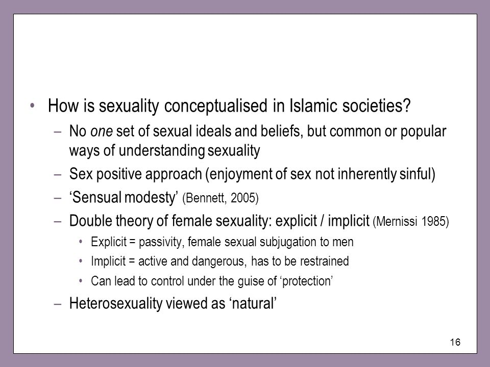 How is sexuality conceptualised in Islamic societies