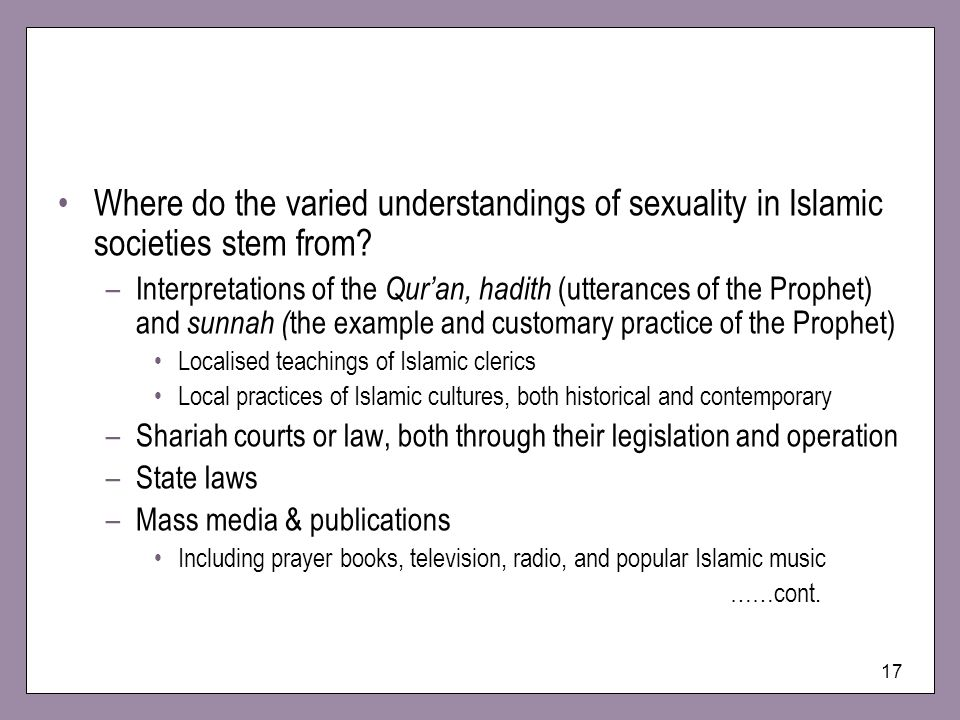 Where do the varied understandings of sexuality in Islamic societies stem from