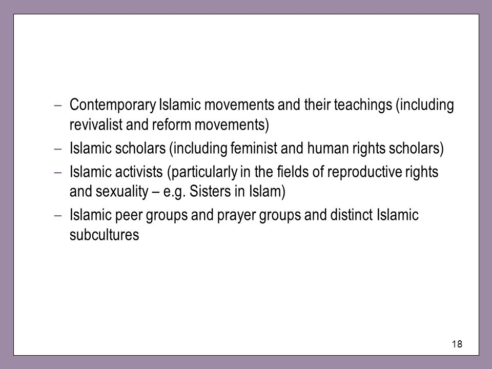 Islamic scholars (including feminist and human rights scholars)