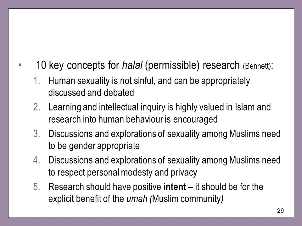 10 key concepts for halal (permissible) research (Bennett):
