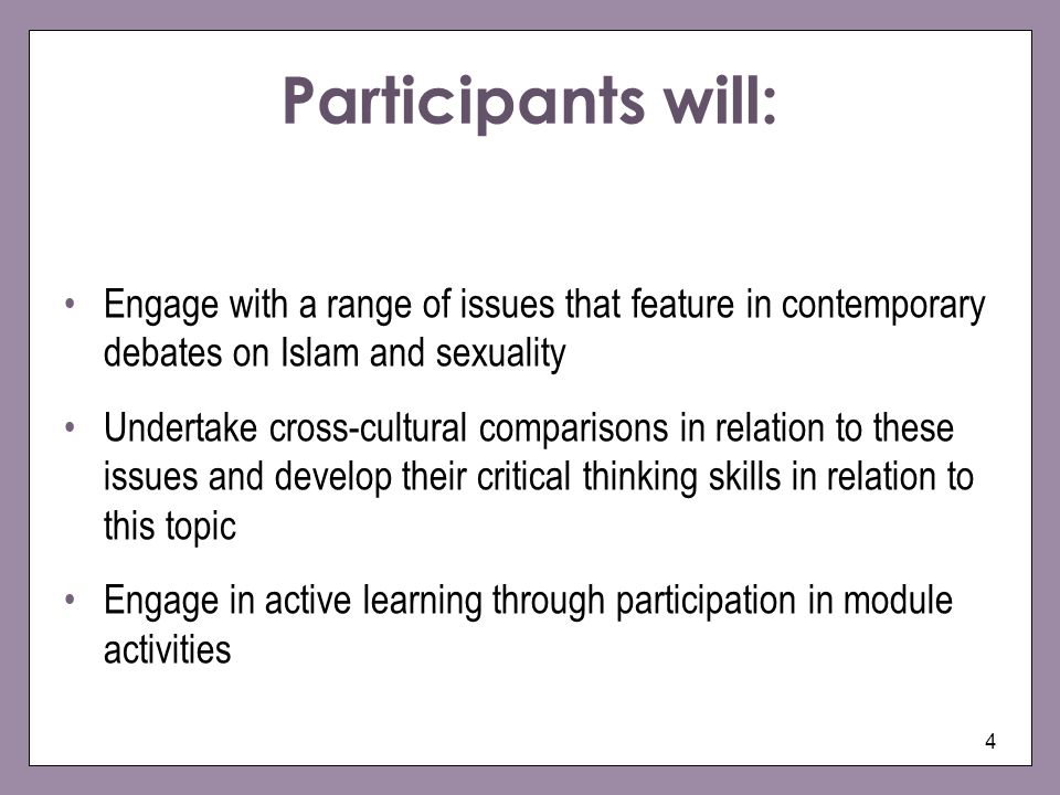 Participants will: Engage with a range of issues that feature in contemporary debates on Islam and sexuality.