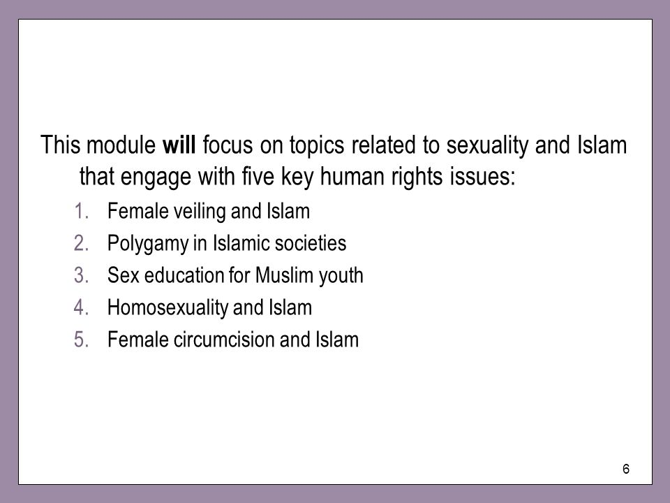 This module will focus on topics related to sexuality and Islam that engage with five key human rights issues:
