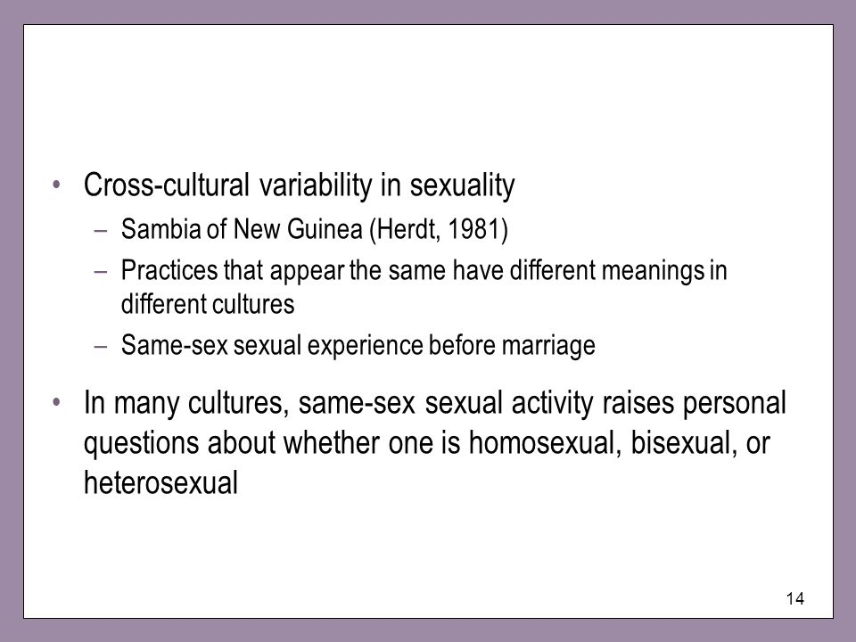 Cross-cultural variability in sexuality