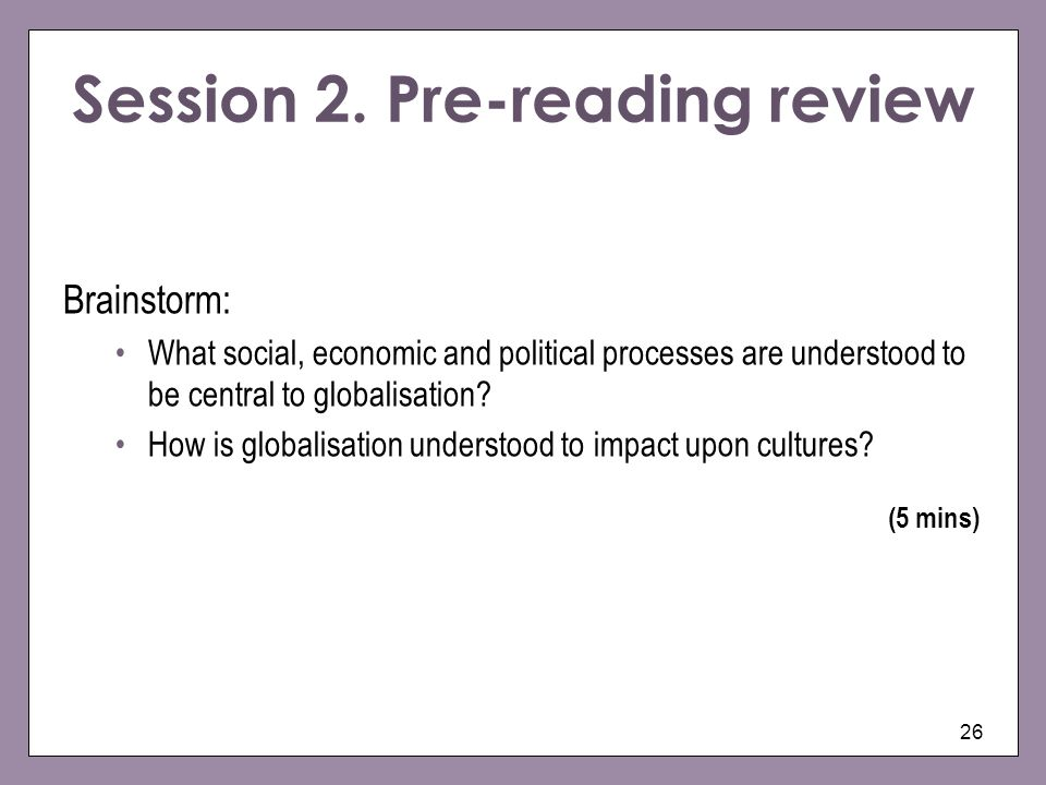 Session 2. Pre-reading review