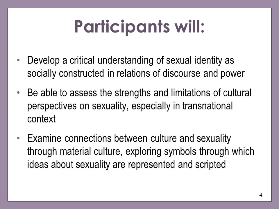 Participants will: Develop a critical understanding of sexual identity as socially constructed in relations of discourse and power.