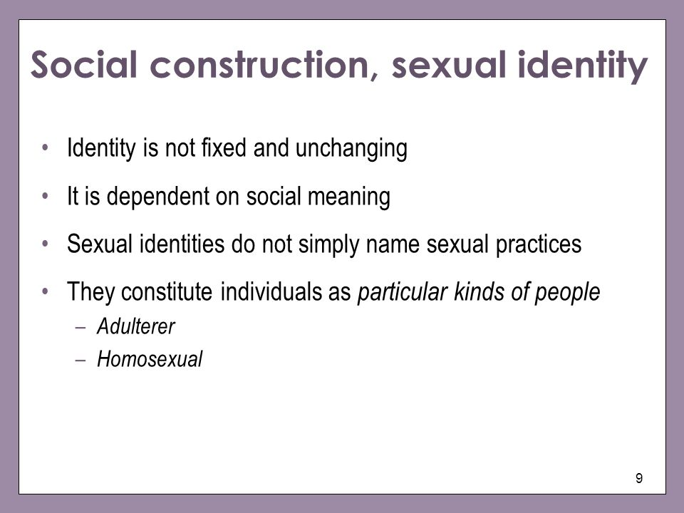 Social construction, sexual identity
