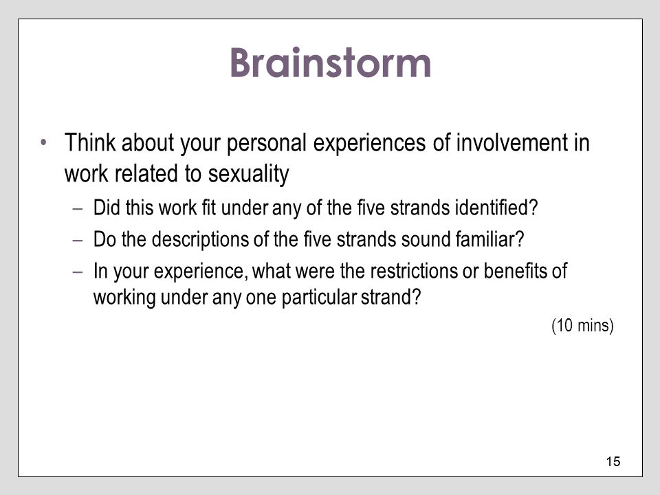 Brainstorm Think about your personal experiences of involvement in work related to sexuality.