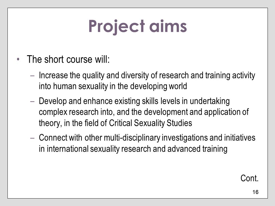Project aims The short course will: