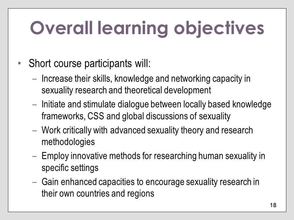 Overall learning objectives