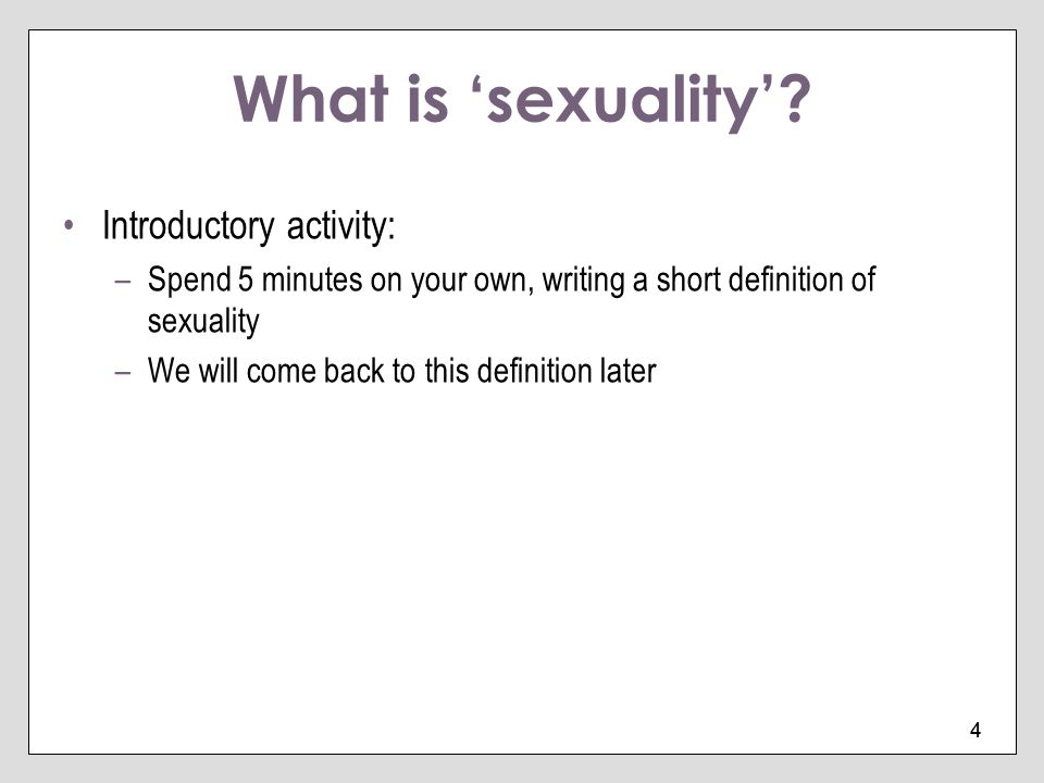 What is 'sexuality' Introductory activity:
