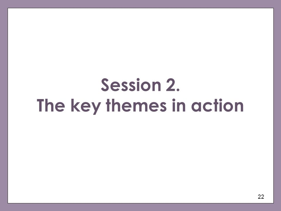 Session 2. The key themes in action