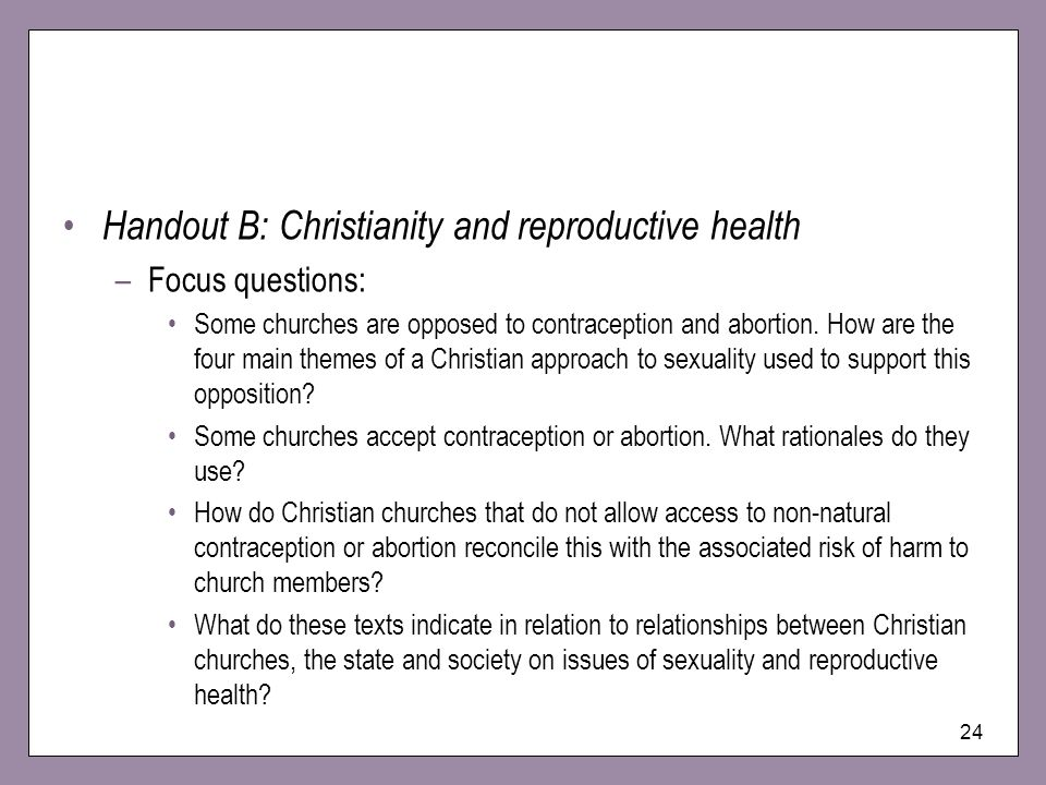 Handout B: Christianity and reproductive health