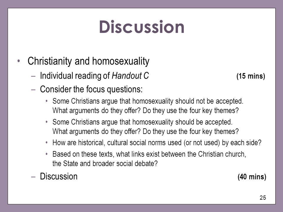 Discussion Christianity and homosexuality