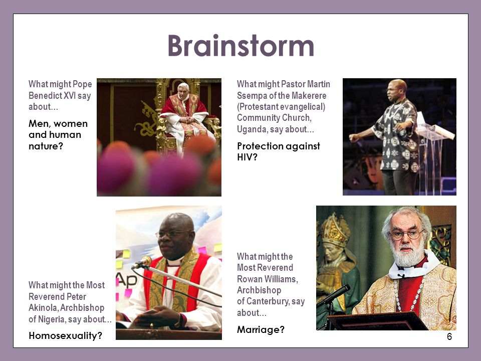 Brainstorm What might Pope Benedict XVI say about…