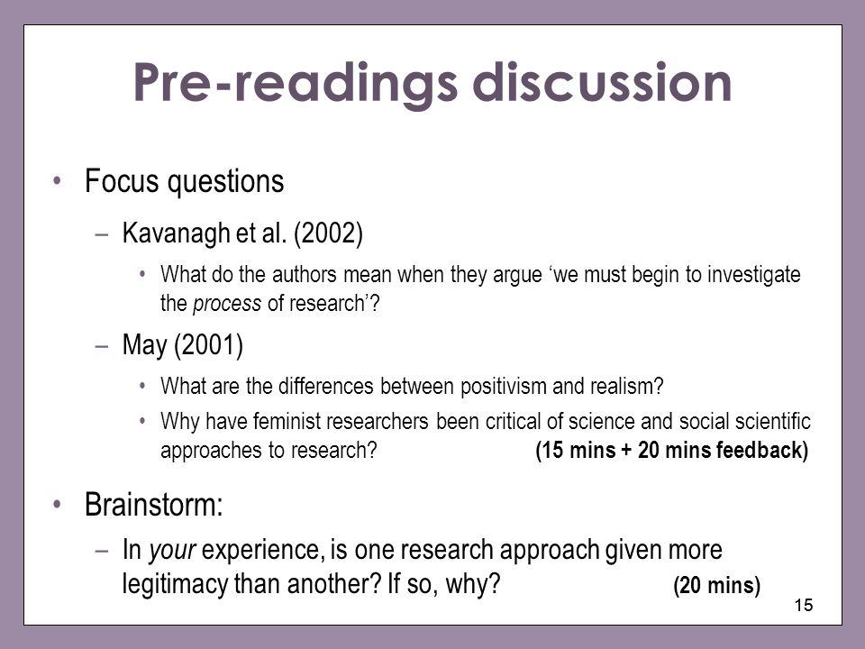 Pre-readings discussion