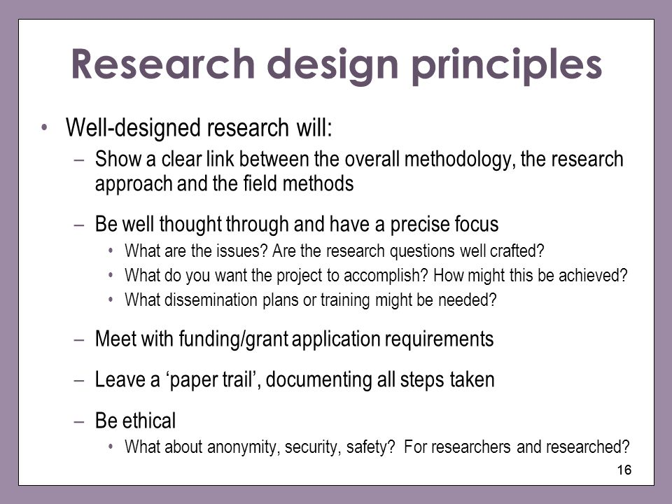 Research design principles