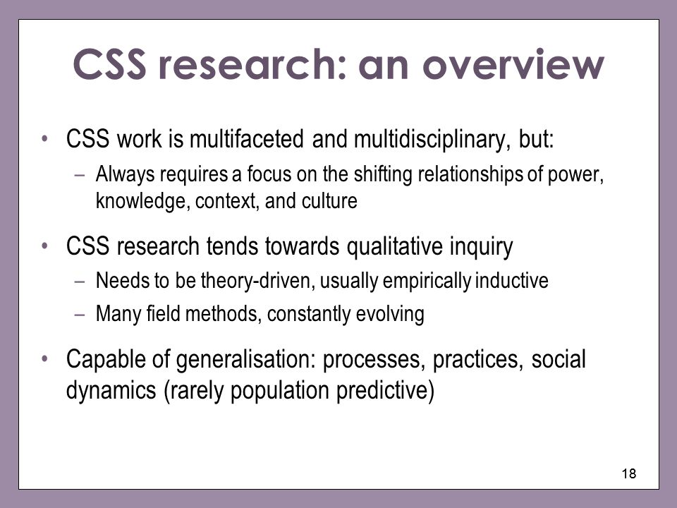 CSS research: an overview