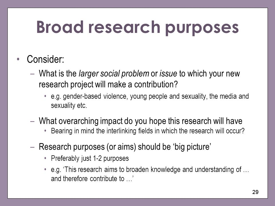 Broad research purposes