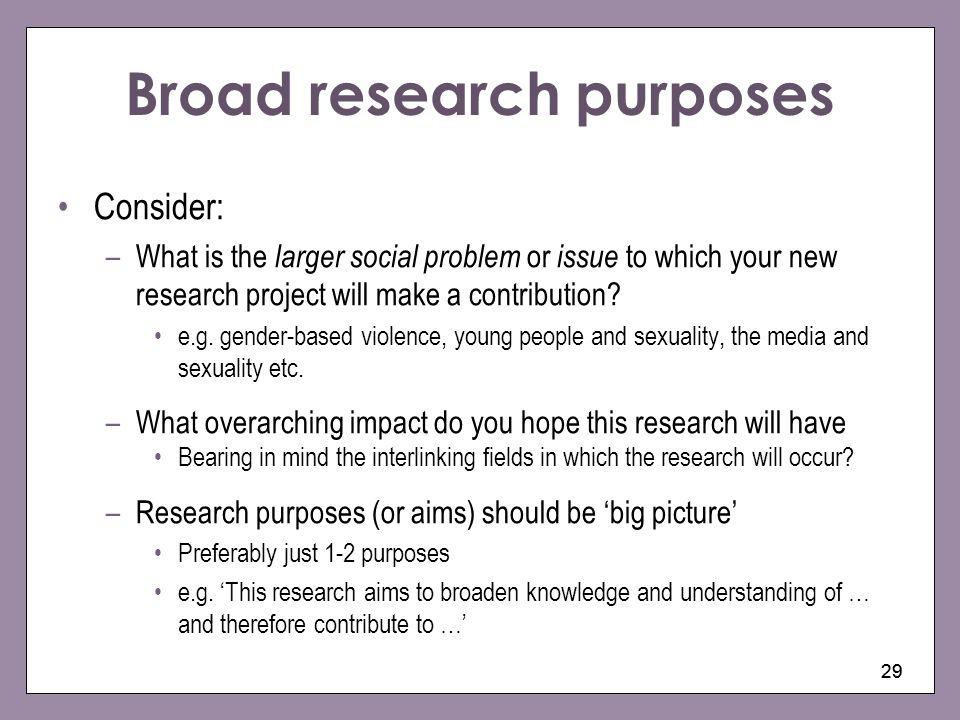 Broad research purposes