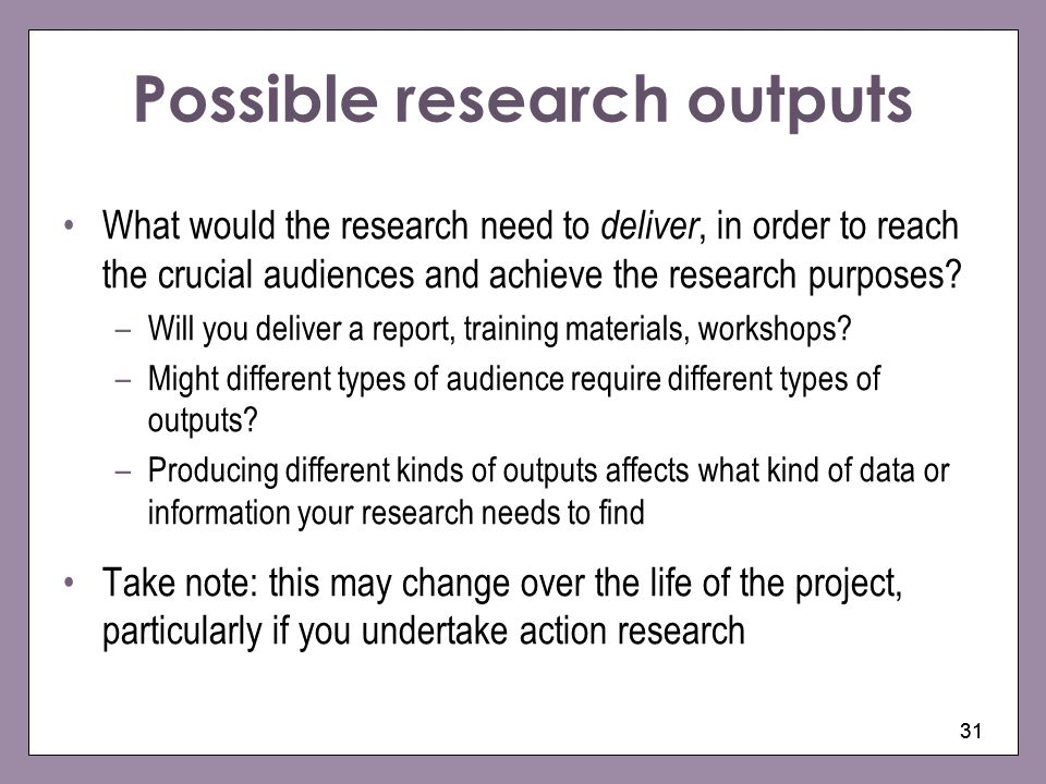 Possible research outputs