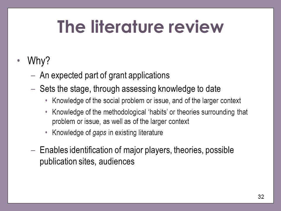 The literature review Why An expected part of grant applications