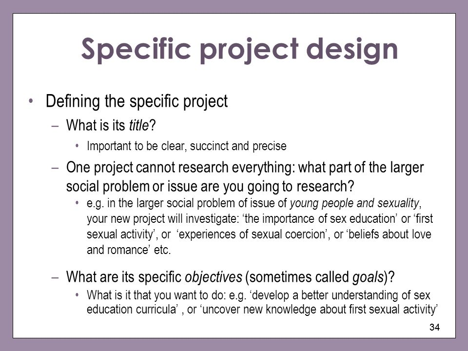 Specific project design