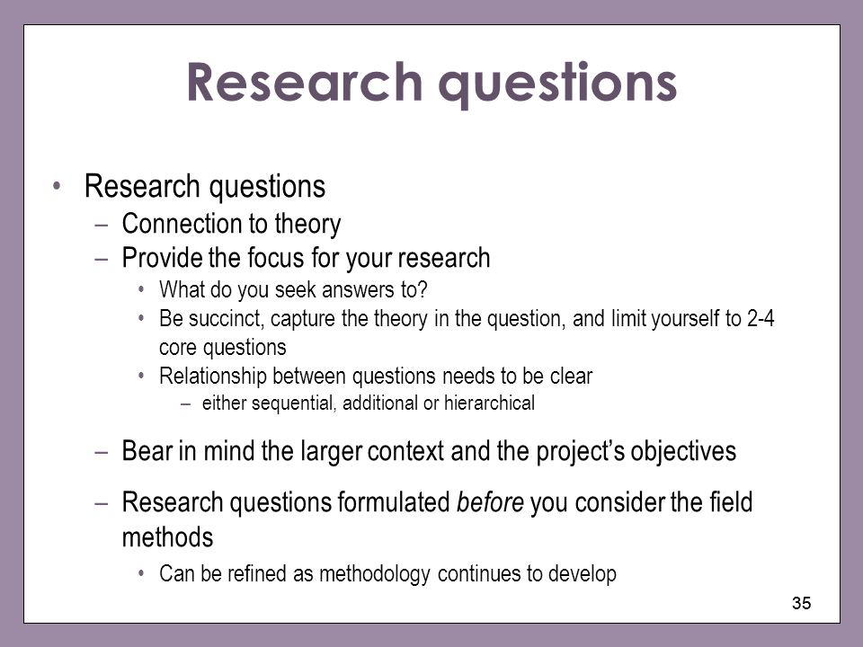 Research questions Research questions Connection to theory