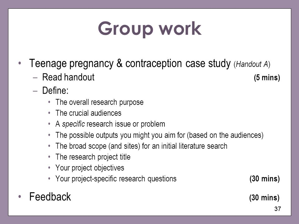 Group work Teenage pregnancy & contraception case study (Handout A)