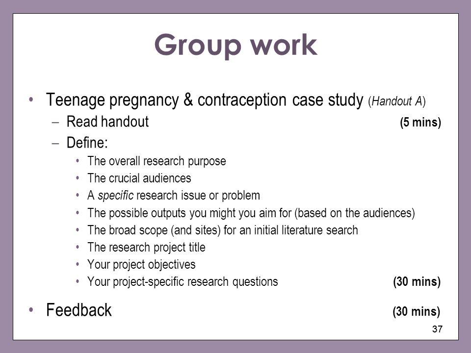 Group work Teenage pregnancy & contraception case study (Handout A)