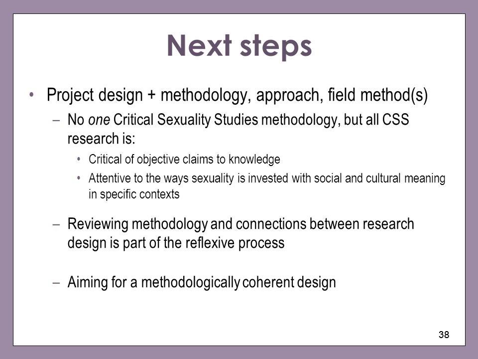 Next steps Project design + methodology, approach, field method(s)