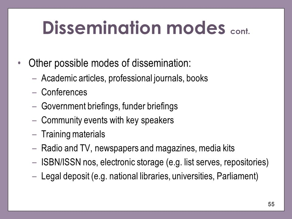 Dissemination modes cont.