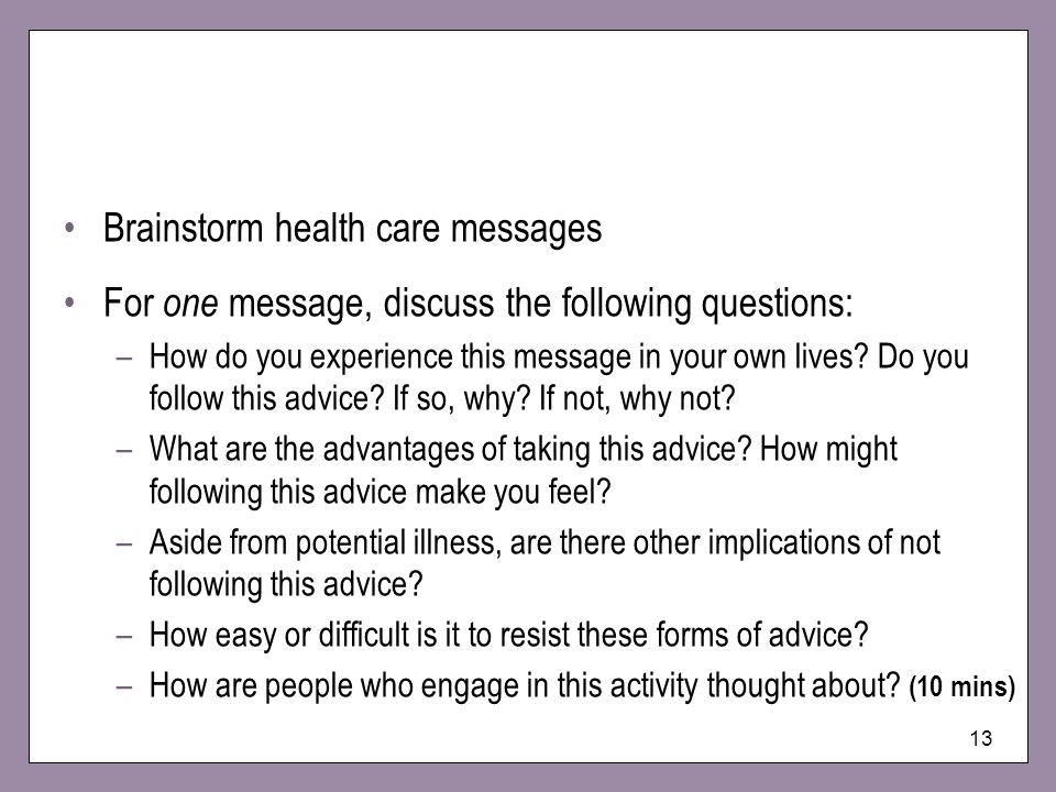 Brainstorm health care messages
