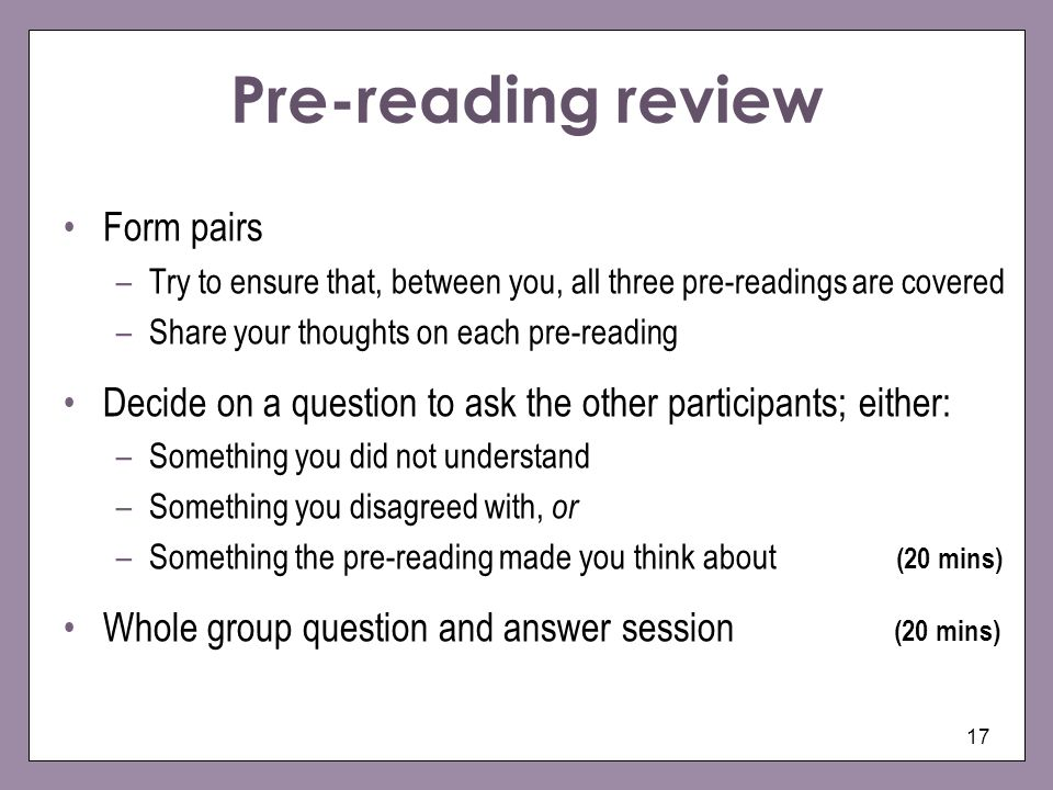 Pre-reading review Form pairs