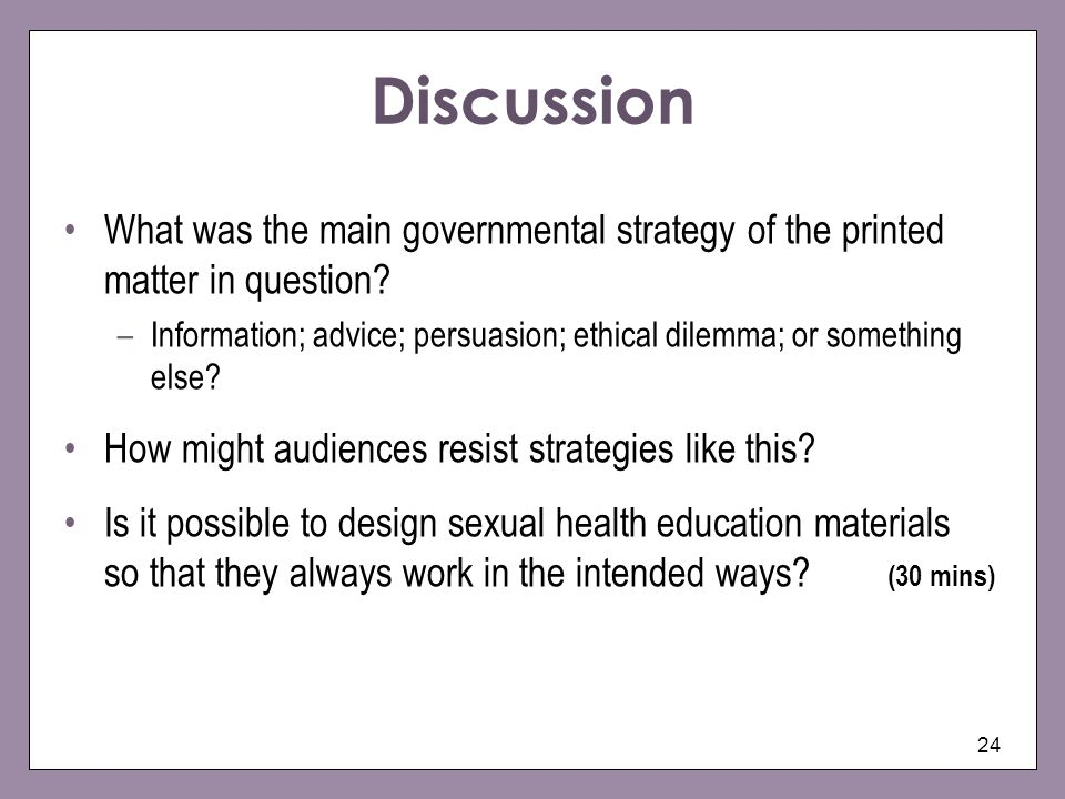 Discussion What was the main governmental strategy of the printed matter in question