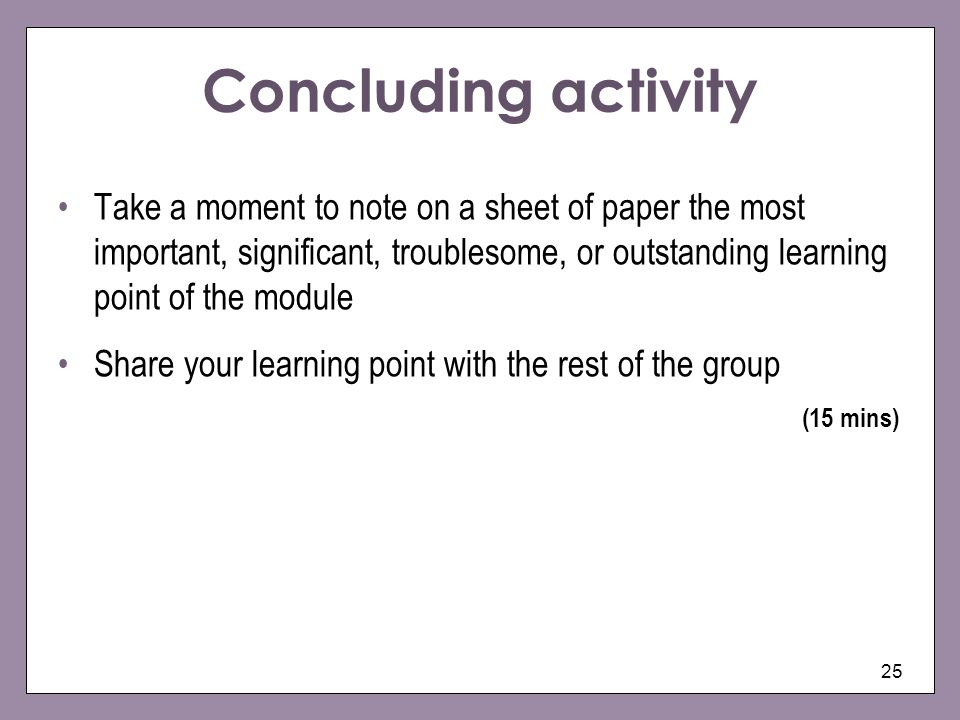 Concluding activity