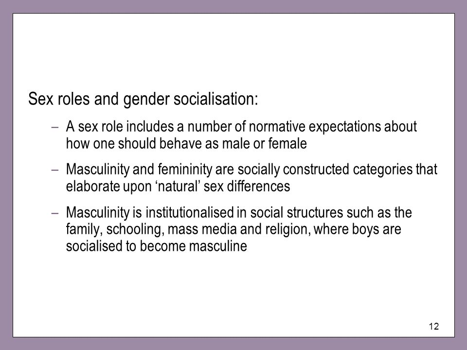 Sex roles and gender socialisation: