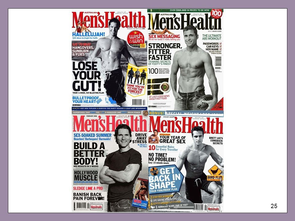 The increasing popularity globally of men's magazines like Men's Health certainly indicates a growing concern with men's bodies for, despite the title, such magazines are largely concerned with body development and fitness. But, these magazines also reflect a nagging concern with being a man, or as it could be better configured: with 'doing masculinity'. Among the regular items in such magazines is managing to cook for oneself — particularly simple, low fat, tasty treats. Men's Health (US) even has a regular column entitled 'A man, a can, and a plan' designed to turn kitchen klutz into culinary commando. Is this only about role change or shifts in the domestic demographics of the gender order