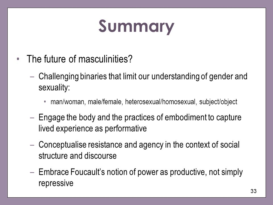 Summary The future of masculinities