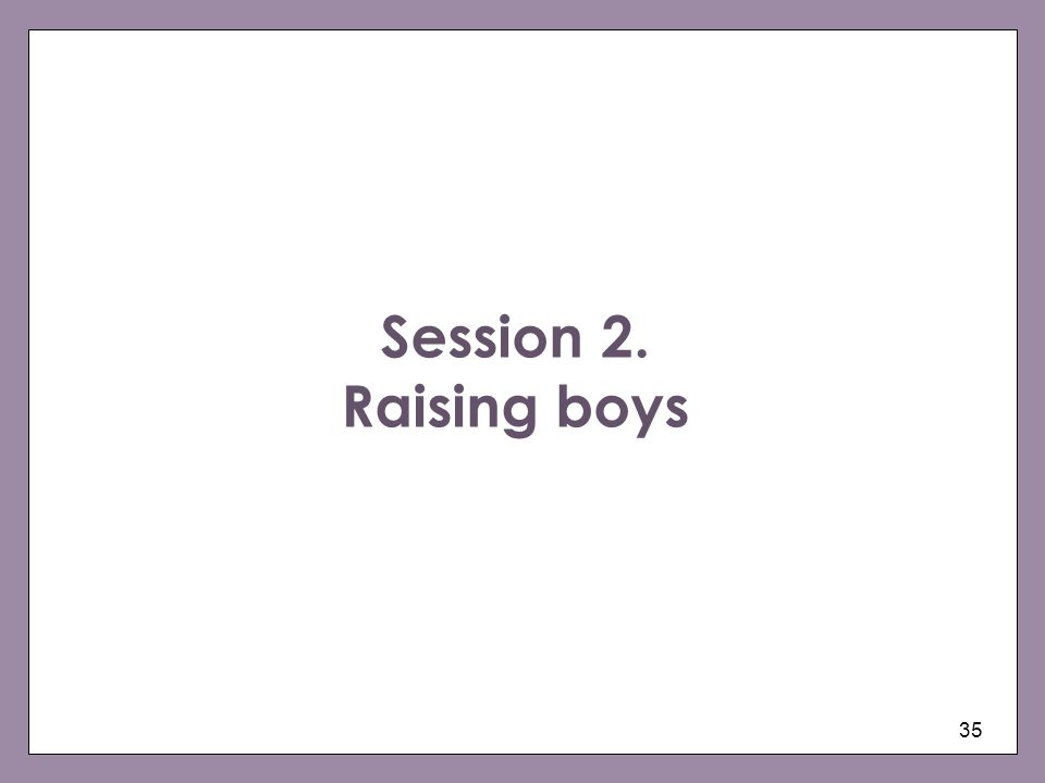 Session 2. Raising boys