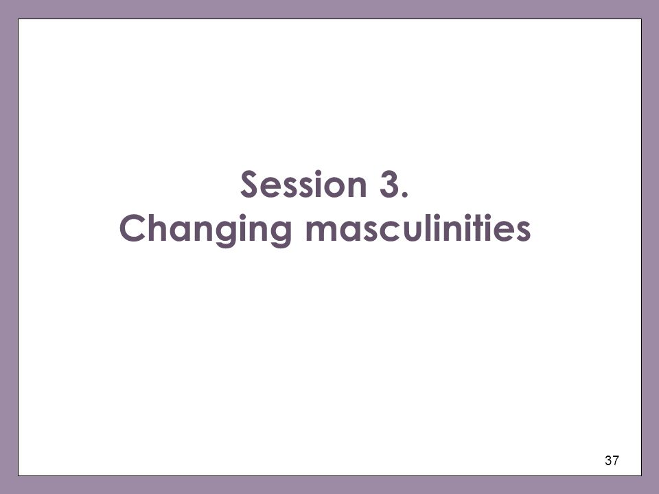 Session 3. Changing masculinities
