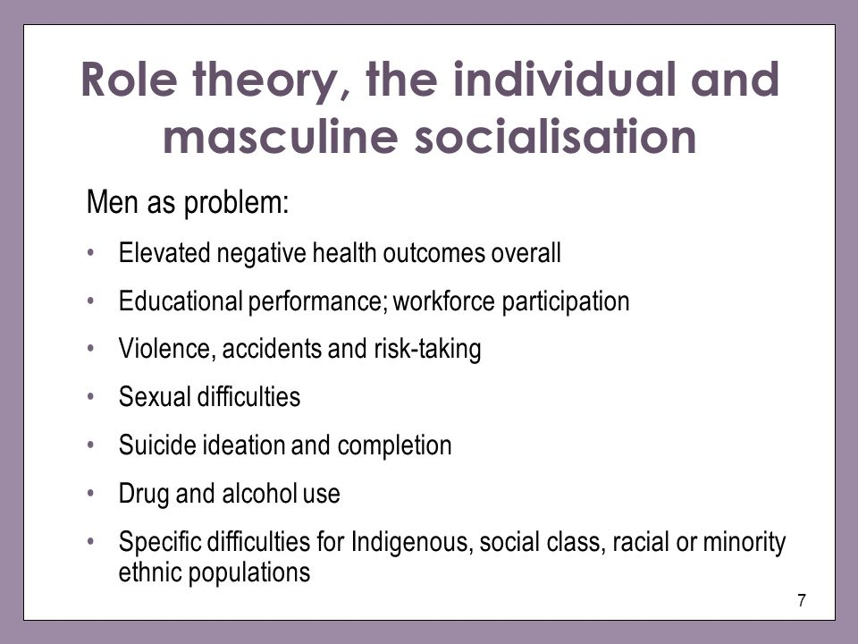 Role theory, the individual and masculine socialisation