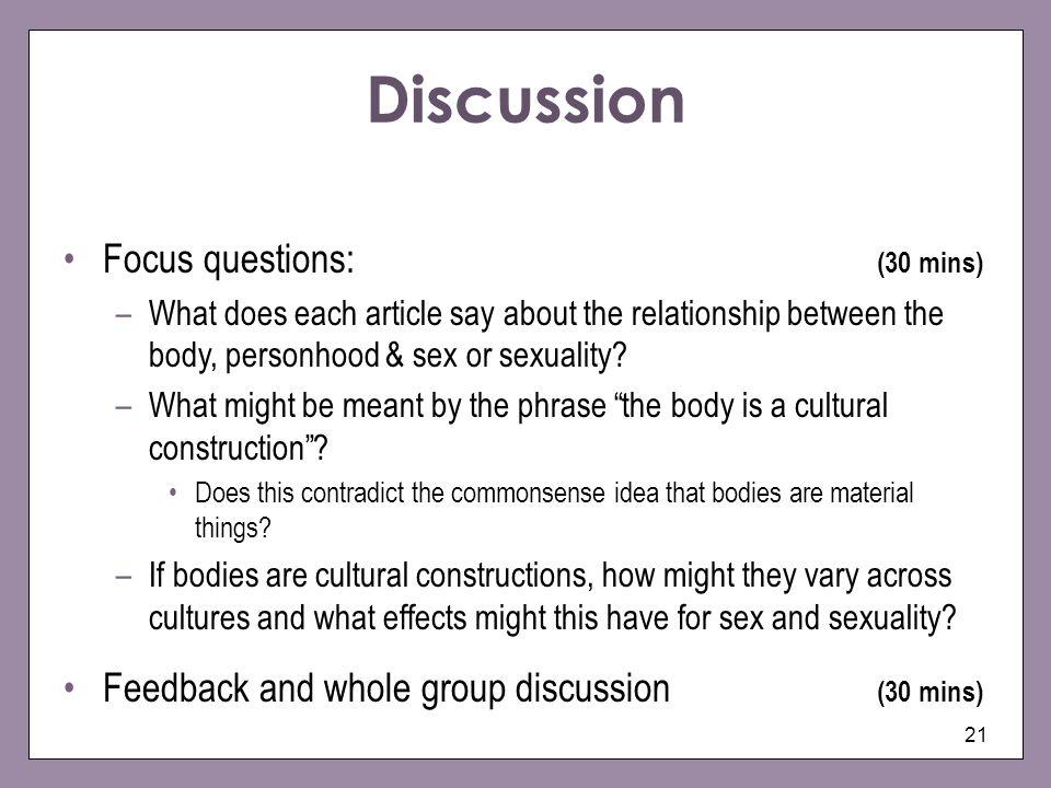 Discussion Focus questions: (30 mins)
