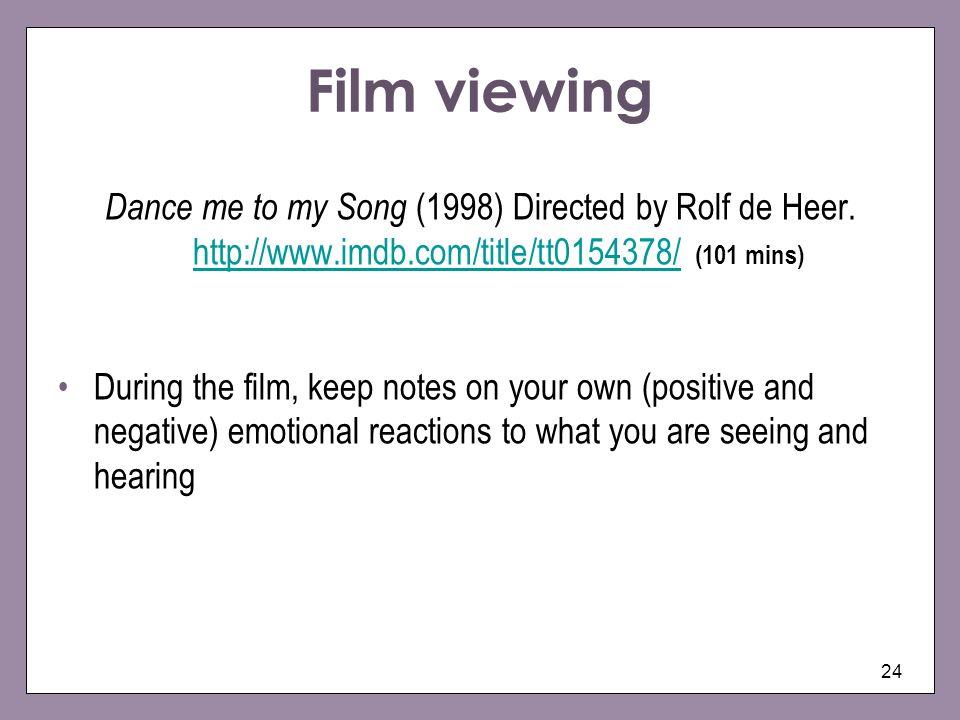 Film viewing Dance me to my Song (1998) Directed by Rolf de Heer. http://www.imdb.com/title/tt0154378/ (101 mins)