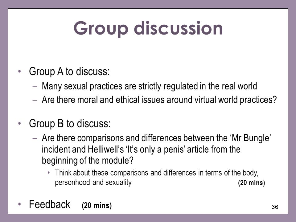 Group discussion Group A to discuss: Group B to discuss: